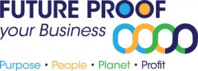 Future Proof Your Business logo with a tagline Purpose, People, Planet, Profit